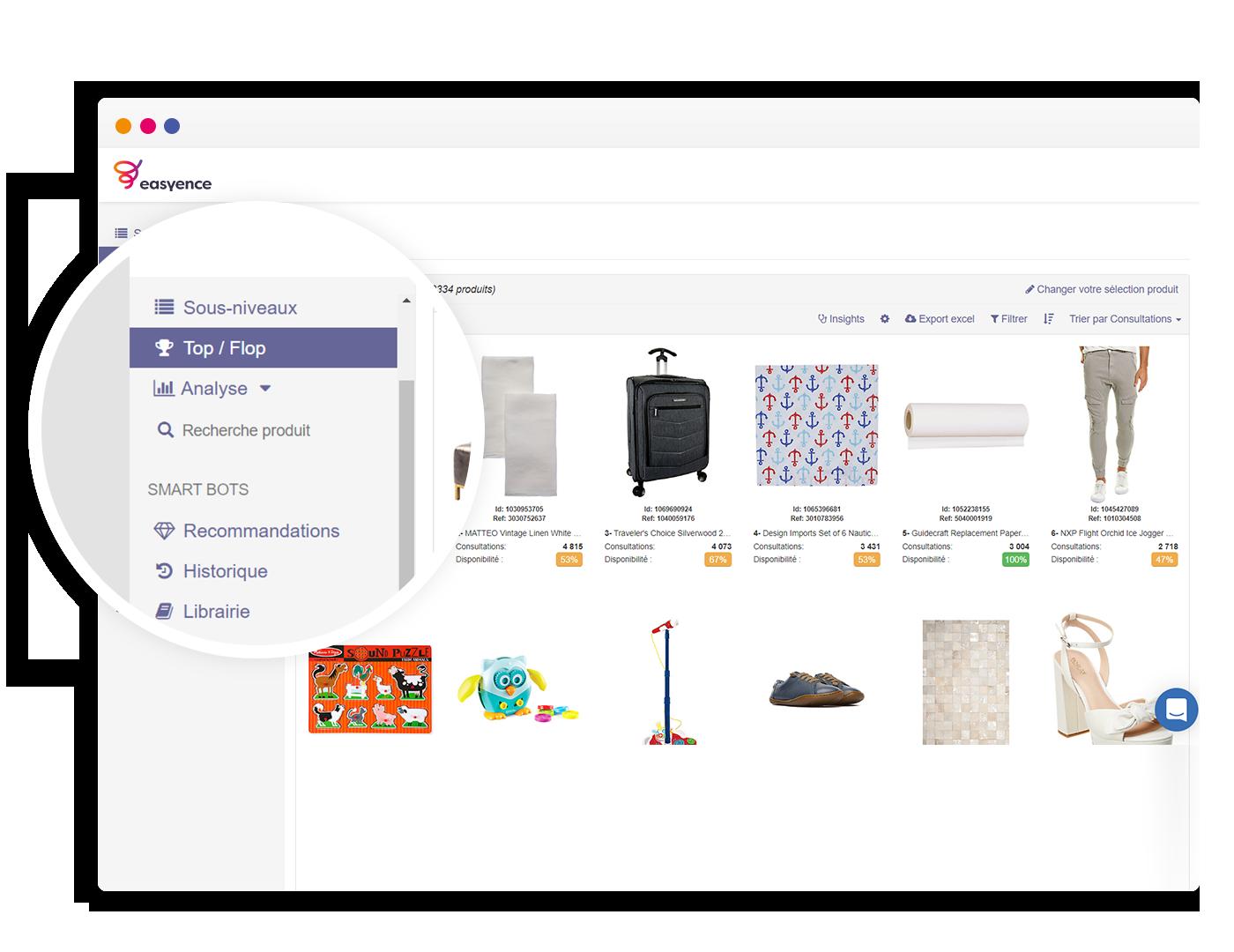 Capture Easyence Platform - Performance des catégories